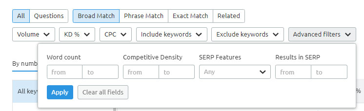 Keyword Magic Tool Filters