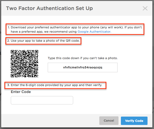 Two Factor Authentication Set UP