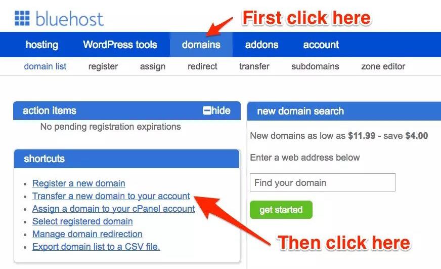 Transfer a new domain