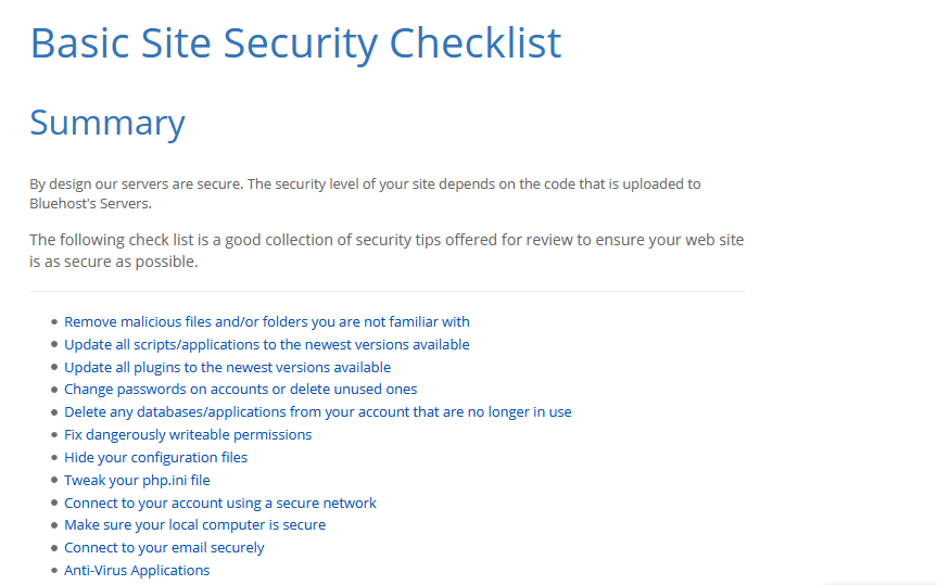 Blue host Security Checklist