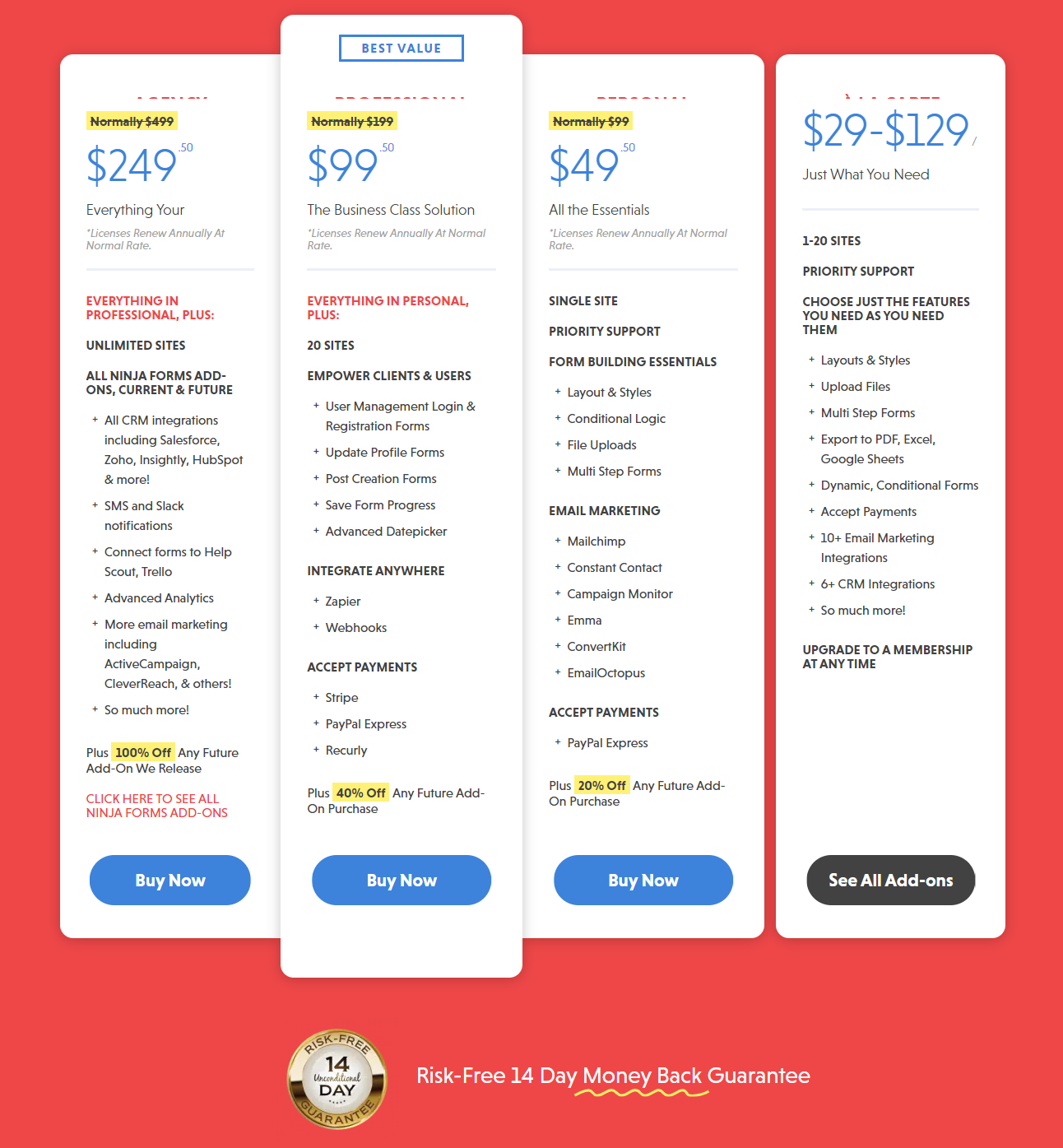 Ninja Forms Pricing Packages
