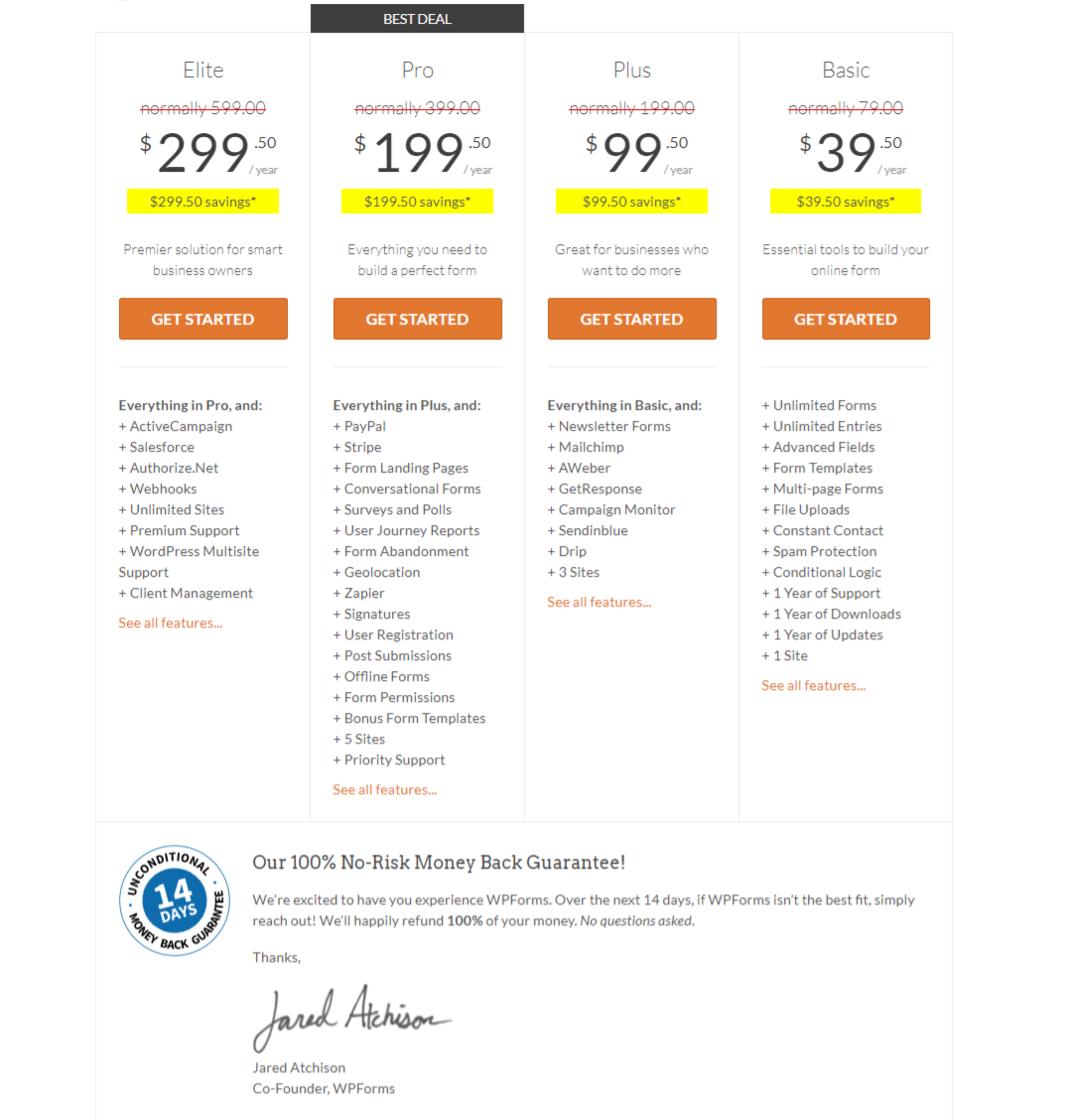 WPForms Pricing packages